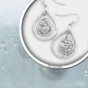 💥NEW💥Silver Druzy Teardrop Earrings
